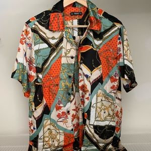 Men's Patterned Button Front Shirt (Never Worn)